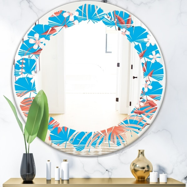 Designart 'Tropical Retro Foliage Coral II' Cottage Round or Oval Wall Mirror - Leaves