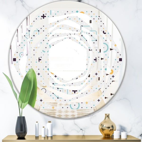 Designart 'Minimalistic Geometric Elements' Modern Round or Oval Wall Mirror - Whirl