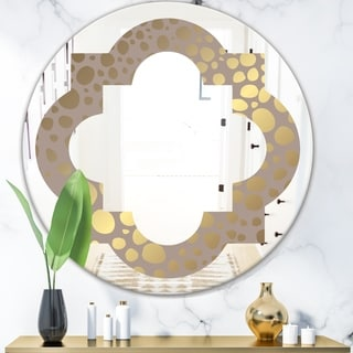 Designart 'Golden Marble Design III' Modern Round or Oval Wall Mirror - Quatrefoil