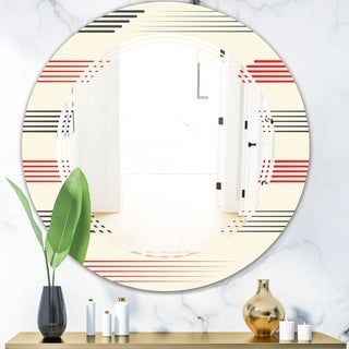 Designart 'Horizontal Retro Geometrical Pattern I' Modern Round or Oval Wall Mirror - Triple C