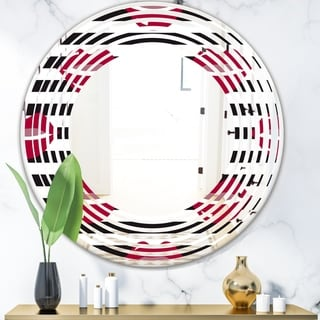 Designart 'Red Lips Fashion Pattern' Modern Round or Oval Wall Mirror - Wave