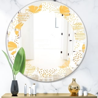 Designart 'Circular Abstract Retro Geometric IX' Modern Round or Oval Wall Mirror - Leaves