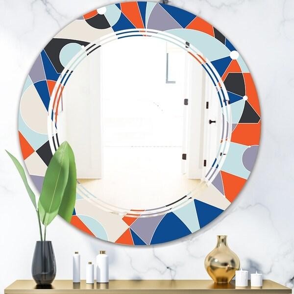 Designart 'Retro Geometric Grid IV' Modern Round or Oval Wall Mirror - Triple C