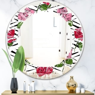 Designart 'Retro Pink and Red Roses' Cottage Round or Oval Wall Mirror - Leaves