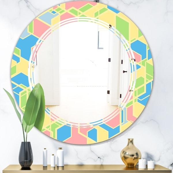 Designart 'Geometrical Pastel Abstract II' Modern Round or Oval Wall Mirror - Triple C