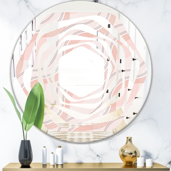 Designart 'Pink Elegant Pastel Waves' Modern Round or Oval Wall Mirror - Whirl