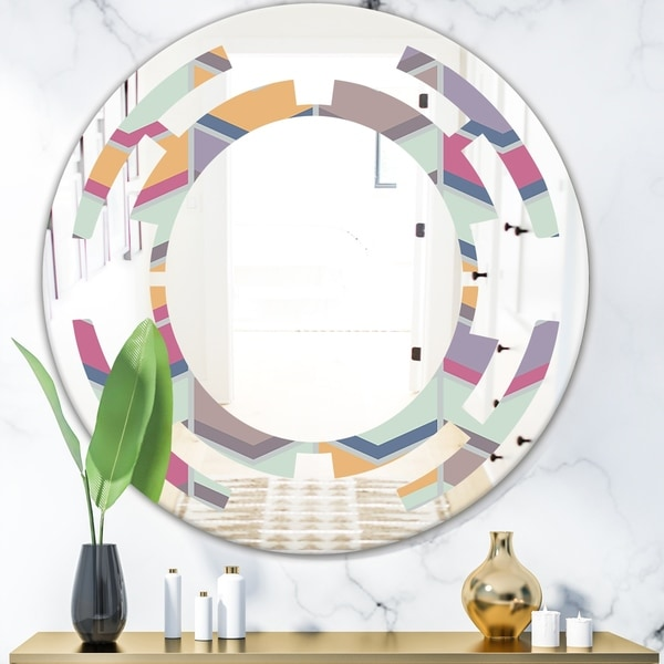 Designart 'Abstract Retro Geometrical Design X' Modern Round or Oval Wall Mirror - Space