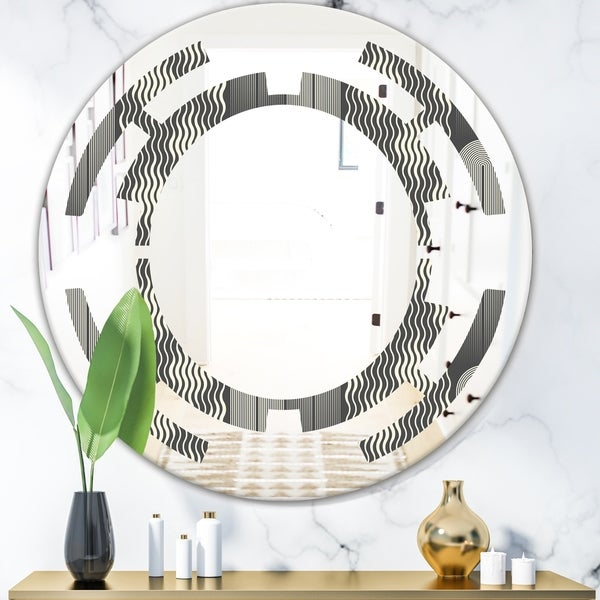 Designart 'Mimimal Black and White Design II' Modern Round or Oval Wall Mirror - Space