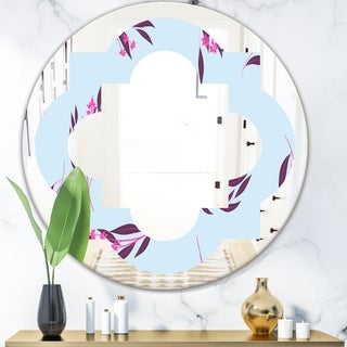 Designart 'Bright Eucalyptus Floral Pattern I' Cottage Round or Oval Wall Mirror - Quatrefoil