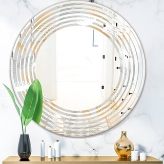 Porch and Den 'Luxury geometric Fall Leaves Pattern' Wall Mirror