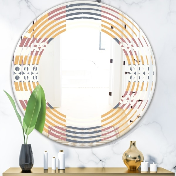 Designart 'Retro Geometric Design VI' Modern Round or Oval Wall Mirror - Wave