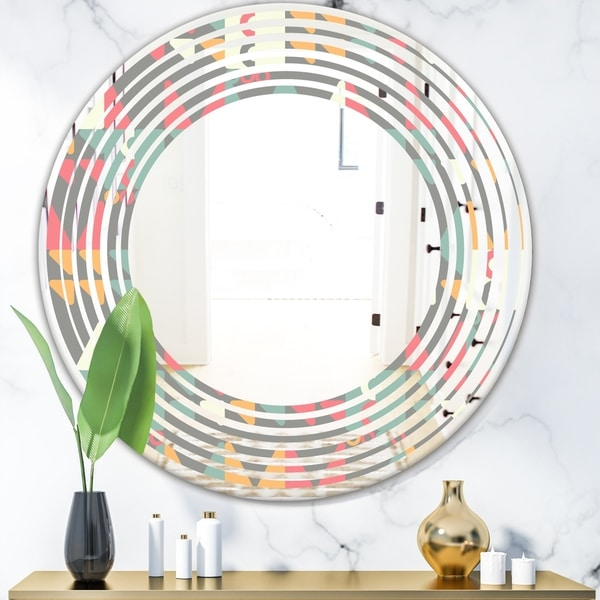 Designart 'Retro Abstract Design V' Modern Round or Oval Wall Mirror - Wave