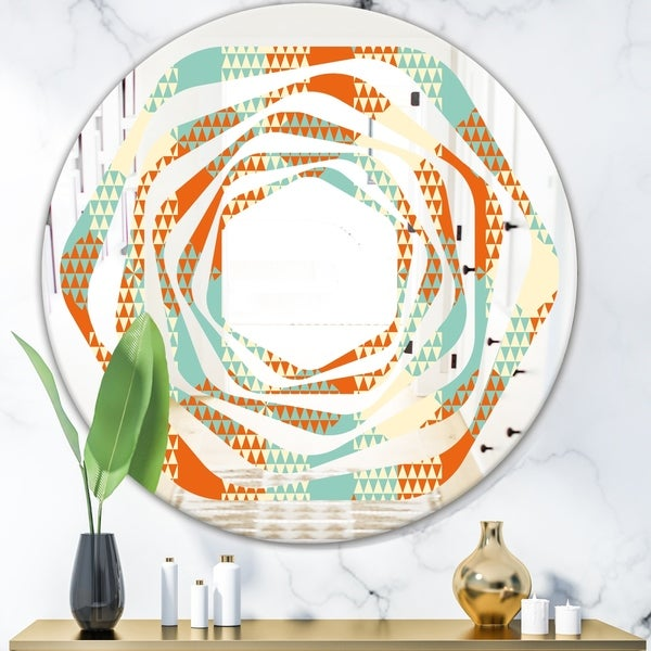 Designart 'Retro Hexagon Pattern VIII' Modern Round or Oval Wall Mirror - Whirl