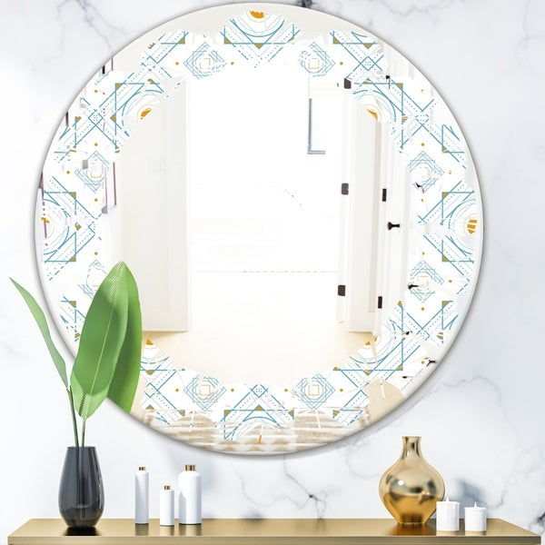 Designart 'Retro Minimal Patttern in Orange and Bluye' Modern Round or Oval Wall Mirror - Leaves