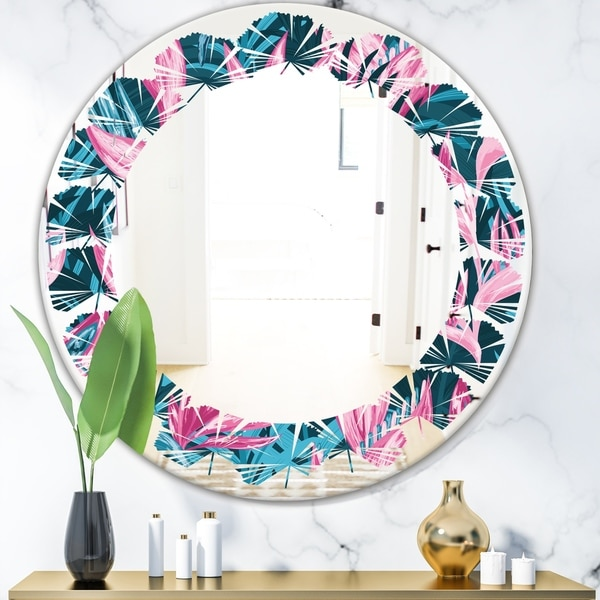 Designart 'Handdrawn Tropical Flowers' Modern Round or Oval Wall Mirror - Leaves
