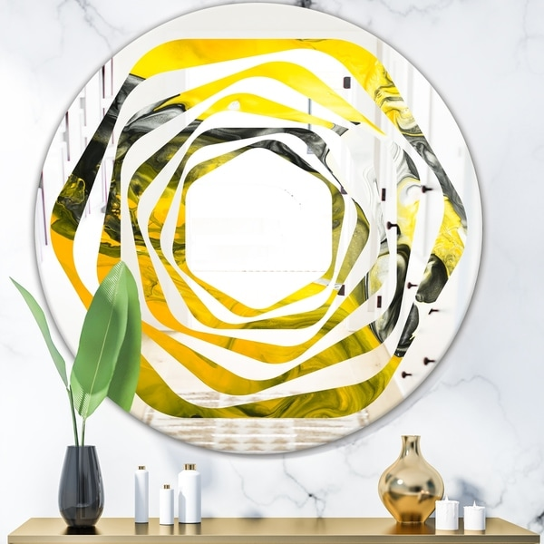 Designart 'Marbled Yellow 5' Modern Round or Oval Wall Mirror - Whirl