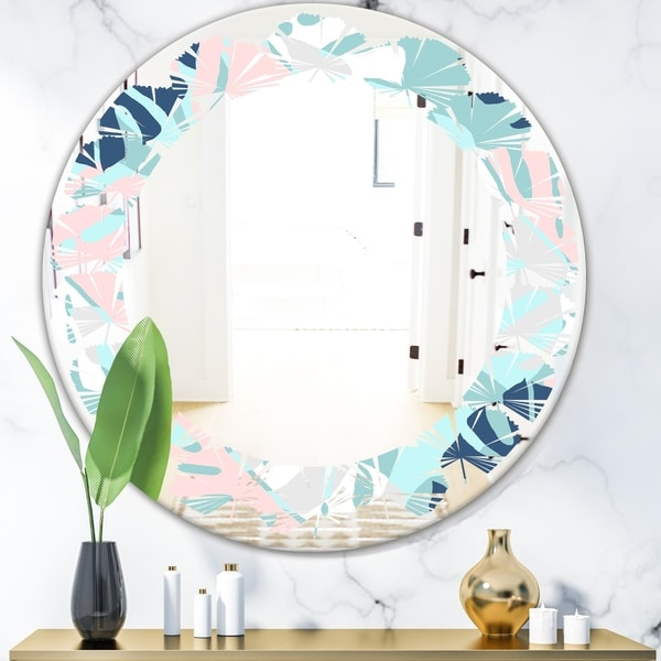 Designart 'Retro Floral Pattern II' Modern Round or Oval Wall Mirror - Leaves