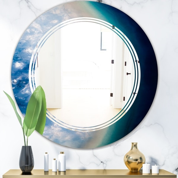 Designart 'Agate beautiful colorful slices and texture' Modern Round or Oval Wall Mirror - Triple C