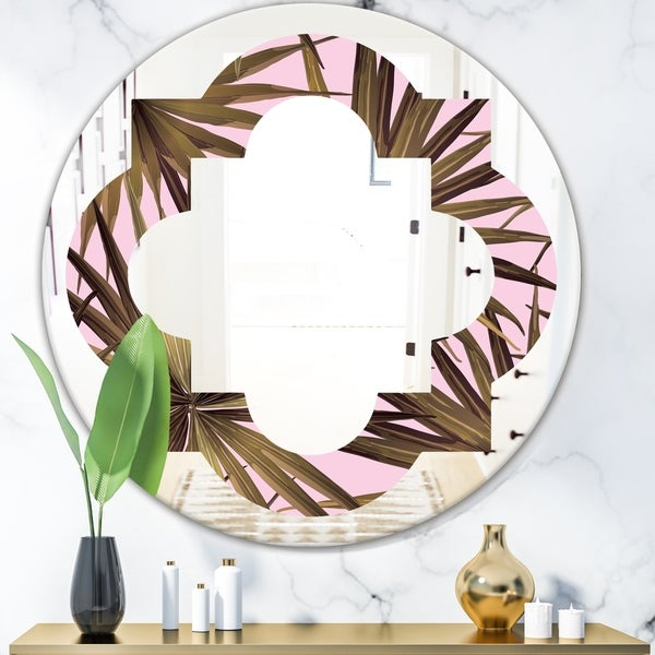 Designart 'Tropical Leaves On Pink' Modern Round or Oval Wall Mirror - Quatrefoil