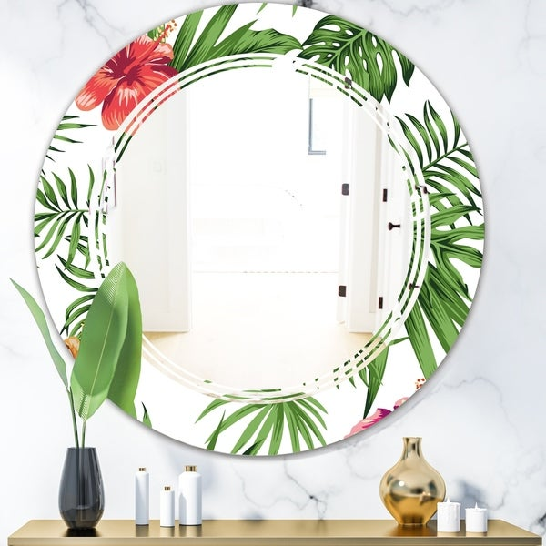 Designart 'Tropical Botanicals and Flowers II' Modern Round or Oval Wall Mirror - Triple C