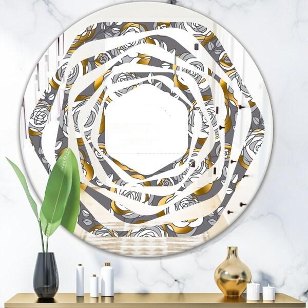 Designart 'Golden Rose Flowers' Modern Round or Oval Wall Mirror - Whirl