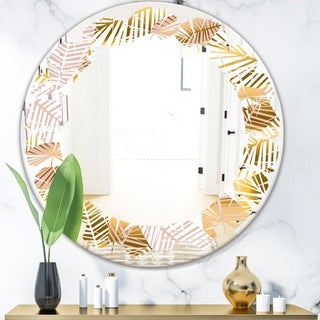 Designart 'Golden Palm Leaves II' Modern Round or Oval Wall Mirror - Leaves