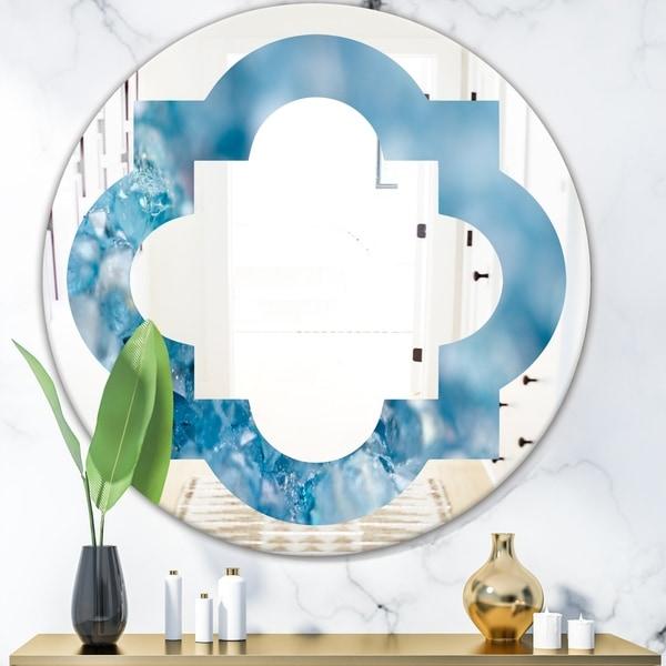 Designart 'Blue crystals Agate' Modern Round or Oval Wall Mirror - Quatrefoil
