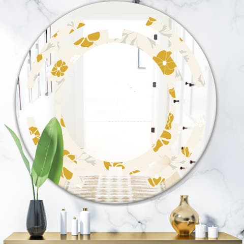 Designart 'Retro Handdrawn Poppies III' Cottage Round or Oval Wall Mirror - Space