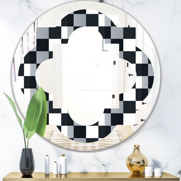 Designart 'Geometric Monochrome Pattern I' Modern Round or Oval Wall Mirror - Quatrefoil