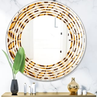 Designart 'Retro Ornamental Design V' Modern Round or Oval Wall Mirror - Wave