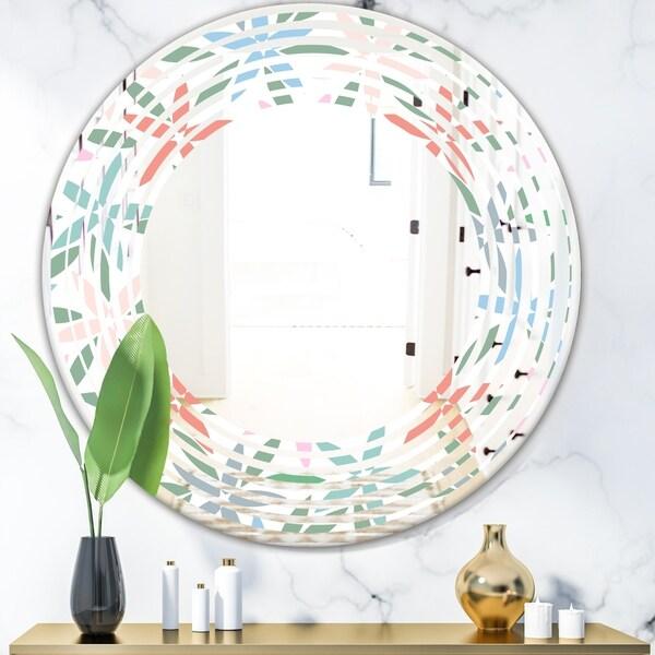 Designart 'Retro Abstract Flower Design III' Modern Round or Oval Wall Mirror - Wave