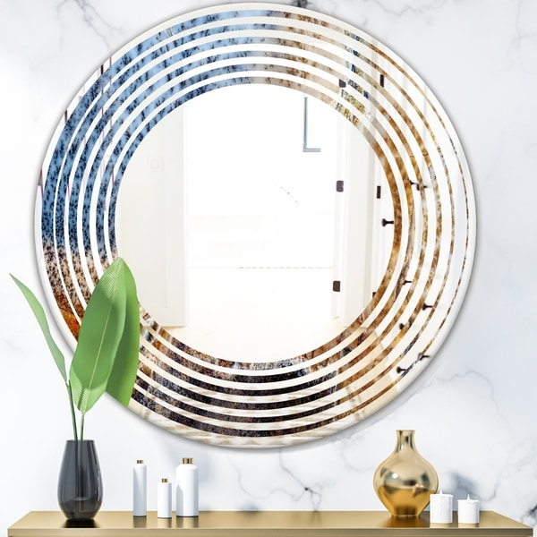 Designart 'China Moss Agate' Modern Round or Oval Wall Mirror - Wave