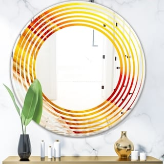 Designart 'Kazakhstan Brown agate macro' Modern Round or Oval Wall Mirror - Wave