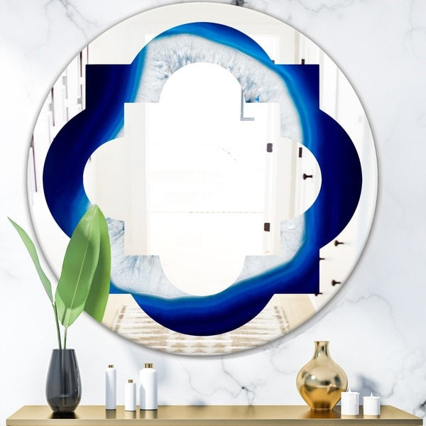 Designart 'Slice of blue agate crystal' Modern Round or Oval Wall Mirror - Quatrefoil