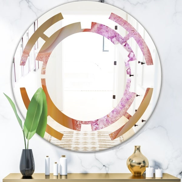 Designart 'Crystals of Amethyst in Agate' Modern Round or Oval Wall Mirror - Space
