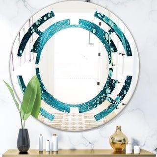 Designart 'Precious Blue Fabulous Pattern' Modern Round or Oval Wall Mirror - Space