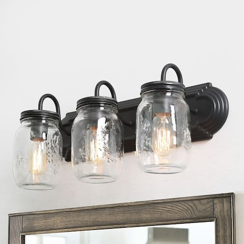 "Modern Farmhouse Wall Sconce Mason Jar Glass Shade 3-lights Bathroom Vanity Lighting - W19.25"" * E7.5"" * H8.5"""