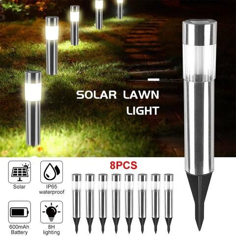 8PC LED Solar Light Lawn Light Waterproof Outdoor Stainless Steel Waterproof Lawn Light for Garden Yard