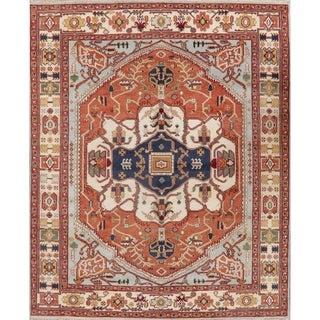 "Indo Heriz Serapi Oriental Gemetric Area Rug Handmade Wool Medallion - 7'10"" x 10'0"""