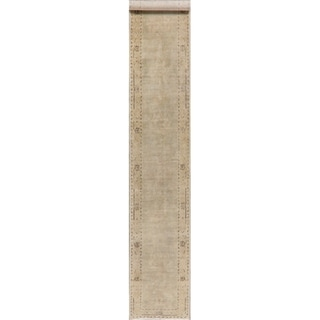 "Distressed Muted Green Oushak Oriental Runner Rug Handmade Hallway - 2'5"" x 13'2"""