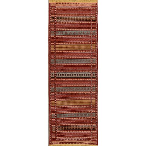 "Vintage Style Geometric Kilim Oriental Striped Runner Rug Hand-Woven - 2'3"" x 6'7"""