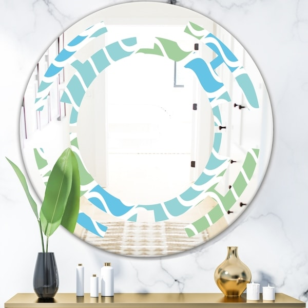 Designart 'Abstract Design Retro Pattern II' Modern Round or Oval Wall Mirror - Space