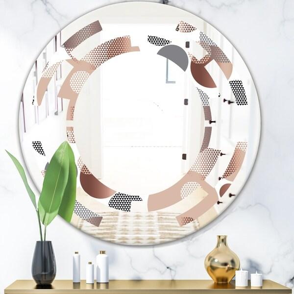 Designart 'Circular Abstract Retro Geometric XIII' Modern Round or Oval Wall Mirror - Space