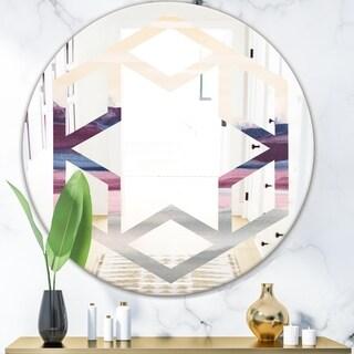 Designart 'Purple Rock Landscape' Modern Round or Oval Wall Mirror - Hexagon Star