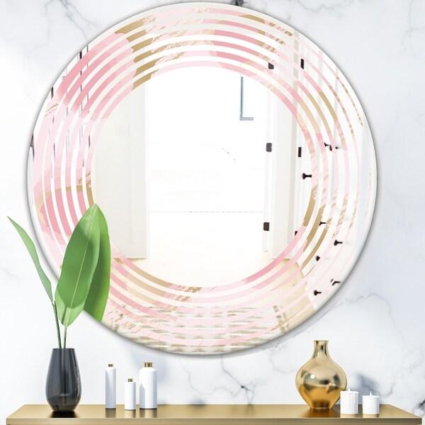 Designart 'Abstract Flower Design IX' Cottage Round or Oval Wall Mirror - Wave