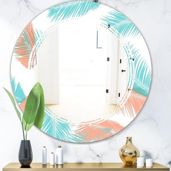 Designart 'Retro Tropical Foliage II' Modern Round or Oval Wall Mirror - Triple C - Multi