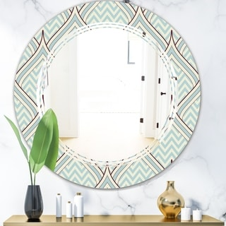 Designart 'Ornament with decorative elements.' Modern Round or Oval Wall Mirror - Triple C