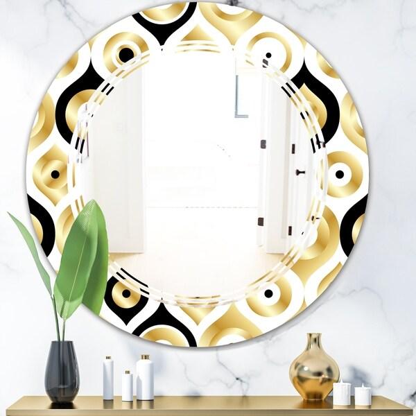Designart 'Golden Art Deco Metallic Luxury Geometrics' Modern Round or Oval Wall Mirror - Triple C