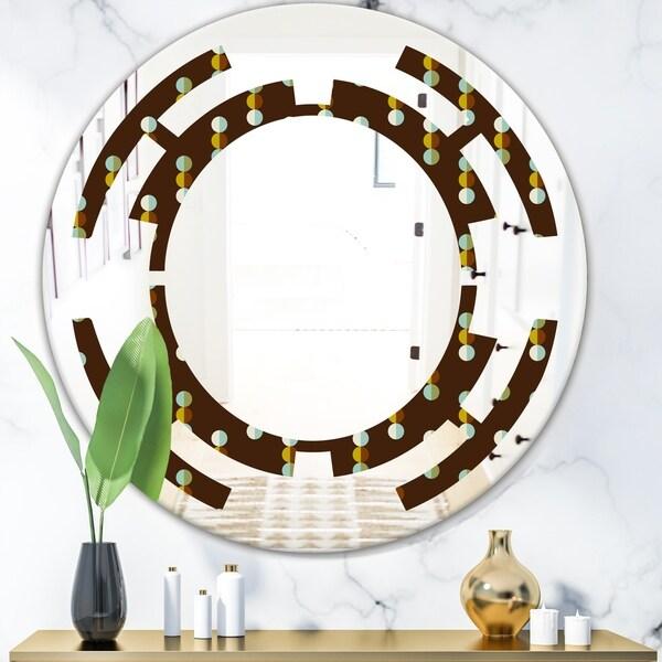 Designart 'Geometric Mod Dots' Modern Round or Oval Wall Mirror - Space
