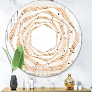 Designart 'Abstract Luxury Beige Waves' Modern Round or Oval Wall Mirror - Whirl